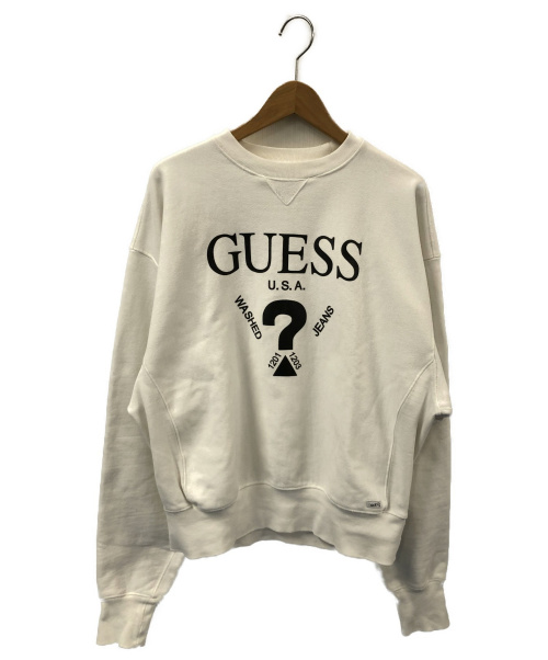 GUESS(ゲス)GUESS (ゲス) クルーネックスウェット ホワイト サイズ:Mの古着・服飾アイテム