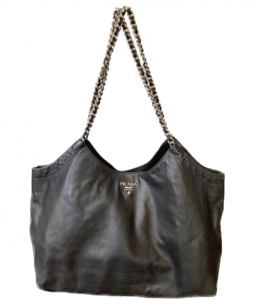 PRADA(プラダ)PRADA (プラダ) チェーンショルダーバッグ ブラック BR4487 無地 ソフトカーフの古着・服飾アイテム