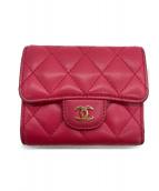 CHANEL(シャネル)の古着「3つ折り財布 マトラッセ 」|ピンク