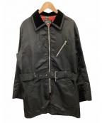 BARNEYS NEWYORK(バーニーズ・ニューヨーク)の古着「ベルト付きナイロンコート」 ブラック