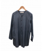 ETHOSENS(エトセンス)の古着「ノーカラーシャツ」|スカイブルー