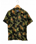 reyn spooner(レイン スプナー)の古着「アロハシャツ」 ブラック×グリーン
