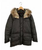 BURBERRY BLACK LABEL(バーバリーブラックレーベル)の古着「フォックスファー付ホワイトグースダウンコート」|ブラック