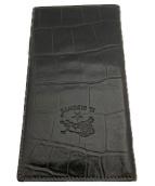 ()の古着「クロコ型押し長財布」 ブラック