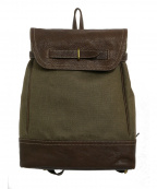 土屋鞄(ツチヤカバン)の古着「タウンコンビリュック ダークオリーブ 限定販売品」 ブラウン×グレー