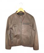 COACH(コーチ)の古着「シングルライダースジャケット 牛革 ブラウン」|ブラウン