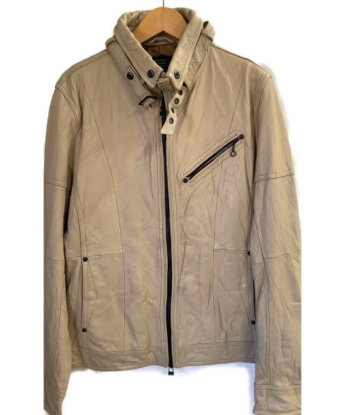 NICOLE CLUB FOR MEN(ニコルクラブフォーメン)NICOLE CLUB FOR MEN (ニコルクラブフォーメン) ゴートスキンジップアップブルゾン ベージュ サイズ:46 山羊革の古着・服飾アイテム