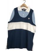 FRED PERRY×NIGEL CABOURN(フレッドペリ×ナイジェル・ケーボン)の古着「ルーズフィット パネルポロシャツ」|ブルー