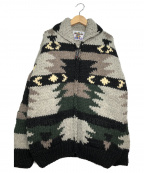 KANATA(カナタ)の古着「カウチンニットジャケット」 グレー×ブラック