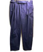 KAZUYUKI KUMAGAI ATTACHMENT(カズユキクマガイ アタッチメント)の古着「ベルト付ワイドテーパードパンツ」 ブラック