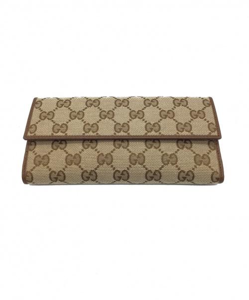GUCCI(グッチ)GUCCI (グッチ) 2つ折り長財布 ブラウン GG 231841-KY9RGの古着・服飾アイテム