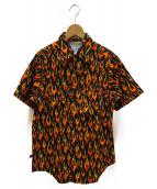 ROCKMOUNT(ロックマウント)の古着「[古着]ファイヤーパターンウエスタンシャツ」|ブラック×オレンジ