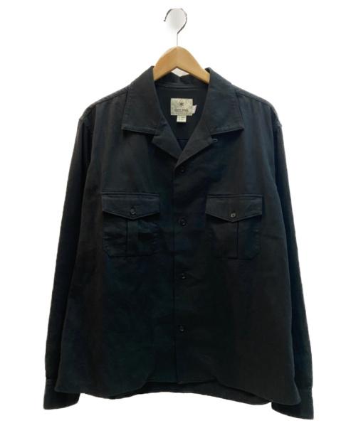 Snow peak(スノーピーク)snow peak (スノーピーク) リネン素材サファリシャツ ブラック サイズ:L(JAPAN)/M(USA) 麻53・綿47%の古着・服飾アイテム