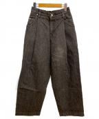 NEON SIGN(ネオンサイン)の古着「USED WIDE DENIM SLACKS」|ブラック