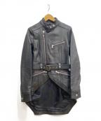 DIESEL Black Gold(ディーゼル ブラック ゴールド)の古着「ロングテールライダースジャケット」|ブラック