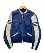 Brooks Leather Sportswear(ブルックス)の古着「[古着]60sシングルライダースジャケット」 ブルー×ホワイト