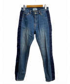 SERGE de bleu(サージ デ ブルー)の古着「テープドプリーツハイウエストコクーンデニムパンツ」|インディゴ