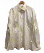 ()の古着「リメイクコットンシャツ」 ホワイト×イエロー