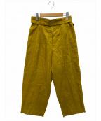 SAYAKA DAVIS(サヤカ デイヴィス)の古着「WRINKLED LINEN PANTS」|マスタード
