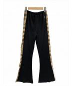 FILA(フィラ)の古着「フレアリブパンツ」 ブラック×ベージュ