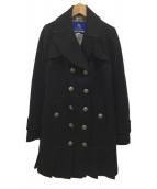 ()の古着「裾プリーツメルトントレンチコート」 ブラック