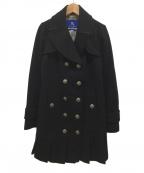 BURBERRY BLUE LABEL(バーバリーブルーレーベル)の古着「裾プリーツメルトントレンチコート」 ブラック