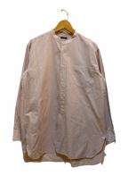 leno(リノ)の古着「ストライプバンドカラーシャツ」 パープル×ホワイト