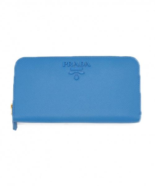PRADA(プラダ)PRADA (プラダ) ラウンドジップウォレット ブルー サフィアーノ 1ML506の古着・服飾アイテム