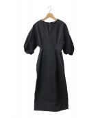 VERMEIL par iena(ヴェルメイユ パーイエナ)の古着「パフスリーブワンピース」|ブラック
