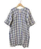 fog linen work(フォグリネンワーク)の古着「POチェックワンピース」 ベージュ