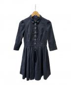 BURBERRY BLUE LABEL(バーバリーブルーレーベル)の古着「フリルシャツワンピース」|ブラック