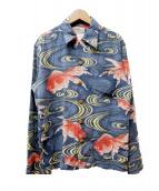 LALA KAI(ララカイ)の古着「シルクアロハシャツ」|ネイビー