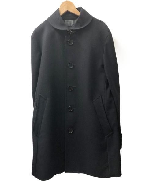BURBERRY BLACK LABEL(バーバリーブラックレーベル)BURBERRY BLACK LABEL (バーバリーブラックレーベル) カシミヤ混ウールコート ブラック サイズ:Mの古着・服飾アイテム