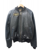 VANSON(バンソン)の古着「レザージャケット」|ブラック×ネイビー