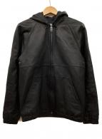 ()の古着「フーデッドレザージャケット」|ブラック