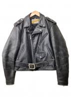 ()の古着「レザーダブルライダースジャケット」|ブラック