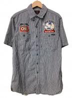 TOYS MCCOY(トイズマッコイ)の古着「ヒッコリーワークシャツ」|ホワイト×ネイビー