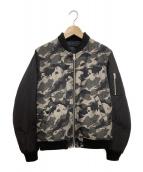TAKEO KIKUCHI(タケオキクチ)の古着「ボーラーカモリバーシMA-1ジャケット」|ブラック×グレー