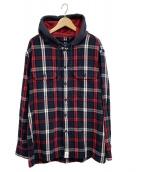 DESCENDANT(ディセンダント)の古着「フーデッドシャツ」|ネイビー×レッド