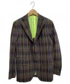 GABRIELE PASINI(ガブリアルパジーニ)の古着「チェックリネン混ジャケット」|ネイビー×ブラウン