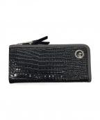 PELLE BORSA(ペレボルサ)の古着「ハーフジップ長財布」 ブラック