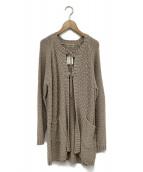 Samansa Mos2(サマンサモスモス)の古着「タック編みリボン付カーディガン」|ベージュ