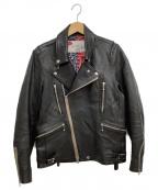 SEVESKIG(セヴシグ)の古着「CALF COLOR RIDERS JACKET」|ブラック