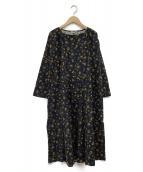 Samansa Mos2(サマンサモスモス)の古着「釦いっぱい小花柄ワンピース」|ネイビー