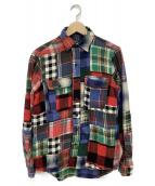 POLO RALPH LAUREN(ポロラルフローレン)の古着「パッチワークコットンネルシャツ」|マルチカラー