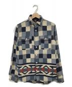 RRL(ダブルアールエル)の古着「ネイティブ柄コットンチェックシャツ」|ブルー
