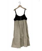Samansa Mos2(サマンサモスモス)の古着「クレリックキャミワンピース」|ブラック×ベージュ