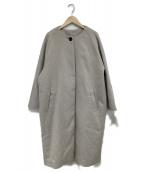Samansa Mos2(サマンサモスモス)の古着「レース付ラウンドネックコート」|グレー