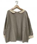 Samansa Mos2(サマンサモスモス)の古着「クレリックラウンドカラーブラウス」|ベージュ