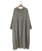Samansa Mos2(サマンサモスモス)の古着「ウール混ヘリンボーンコートワンピース」|ベージュ